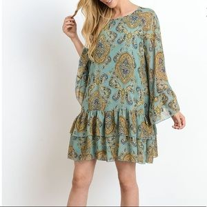 NEW Turquoise Ruffle Hem Dress
